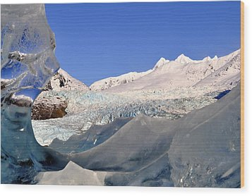 Wood Print featuring the photograph Mendenhall Glacier Refraction by Cathy Mahnke