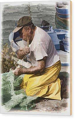 Mending The Net - Catania Sicily Wood Print by Jon Berghoff