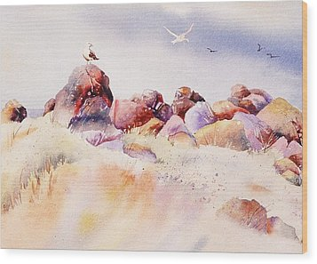 Wood Print featuring the painting Mendocino Birds by John  Svenson
