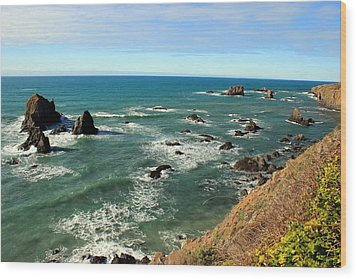 Mendocino Rocks Wood Print
