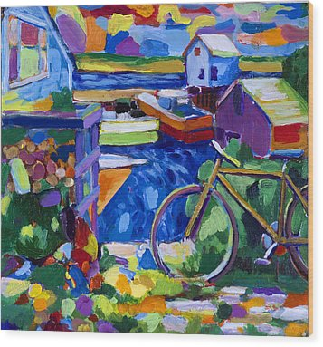 Menemsha At The Top Of The Stairs Wood Print by Michael Phelps Morse