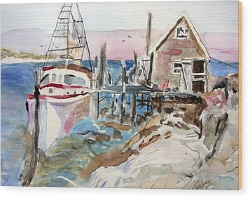 Wood Print featuring the painting Menemsha Harbor by Michael Helfen
