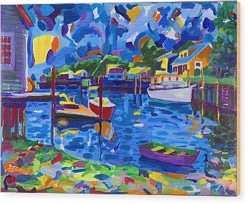 Menemsha Row Boat Wood Print by Michael Phelps Morse