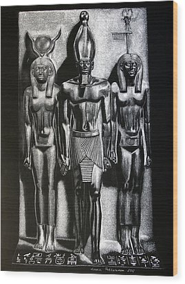Menkaure Triad Wood Print