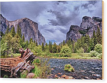 Wood Print featuring the photograph Merced River Yosemite Valley by Janis Knight
