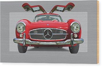 Mercedes 300 Sl Gull Wing Wood Print by Alain Jamar