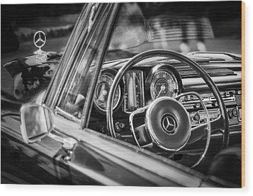 Mercedes-benz 250 Se Steering Wheel Emblem Wood Print