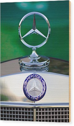Mercedes Benz Hood Ornament 3 Wood Print by Jill Reger