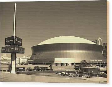 Mercedes Benz Superdome - New Orleans La Wood Print by Deborah Lacoste