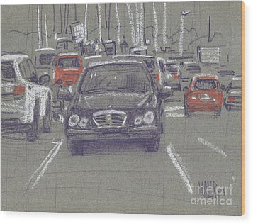 Wood Print featuring the painting Mercedes by Donald Maier