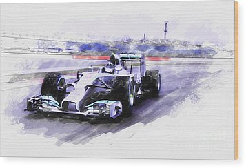 Mercedes F1 W05 Wood Print by Roger Lighterness