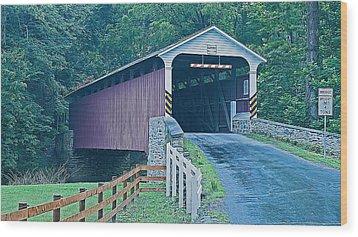 Mercer's Mill Covered Bridge Wood Print by Michael Porchik