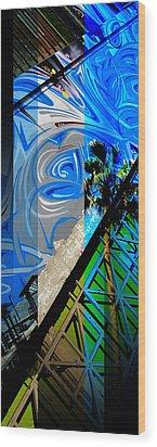 Merged - Painted Blues Wood Print by JBDSGND OsoPorto