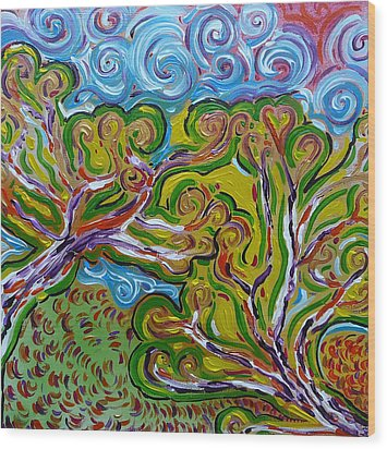 Merging In The Trees Wood Print by Gioia Albano