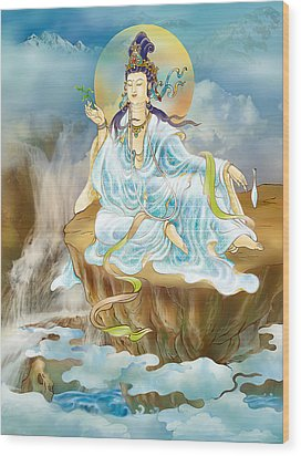Merit King Kuan Yin Wood Print by Lanjee Chee