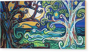 Merlin Tree Heart-hur Wood Print by Genevieve Esson