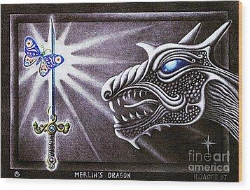 Merlin's Dragon Wood Print by Hartmut Jager