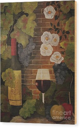 Wood Print featuring the painting Merlot For The Love Of Wine by John Stuart Webbstock