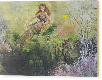 Mermaid And Friends Wood Print by Nancy Gorr