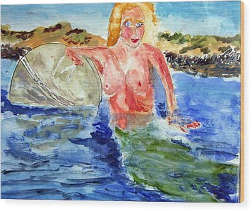 Wood Print featuring the painting Mermaid And The Buoy by Michael Helfen