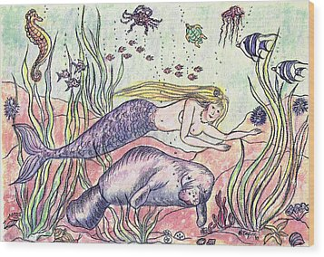Mermaid And The Manatee Wood Print
