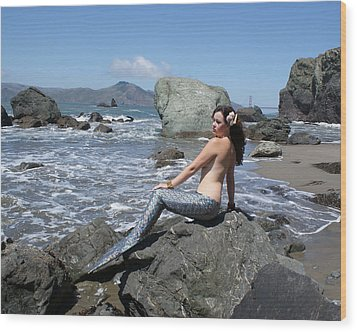 Mermaid At Lands End Wood Print
