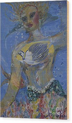 Wood Print featuring the painting Mermaid by Avonelle Kelsey