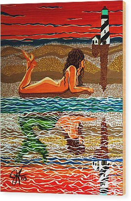Wood Print featuring the painting Mermaid Day Dreaming  by Jackie Carpenter