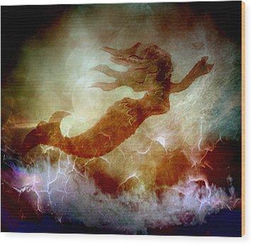 Mermaid In A Storm Wood Print by Irma BACKELANT GALLERIES