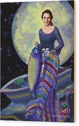 Mermaid Mother Wood Print by Carol Jacobs