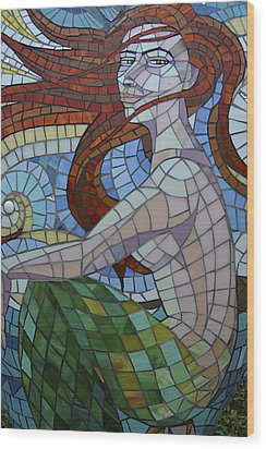 Mermaid Multi-colored Glass Mosaic  Wood Print