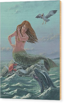 Mermaid On Rock Wood Print by Martin Davey