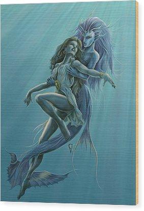 Mermaid Rescue Wood Print by Rob Carlos
