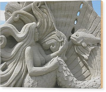 Mermaid Sand Sculpture Wood Print