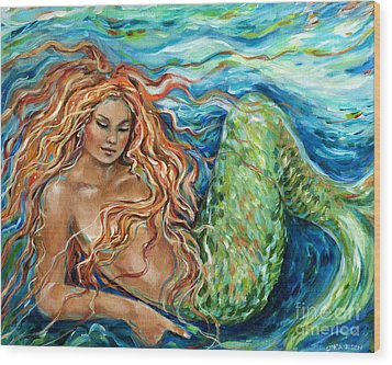 Mermaid Sleep New Wood Print