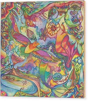 Mermaid Towne Wood Print by DiNo and Dart