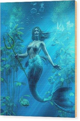 Mermaid Underwater Wood Print by Kaylee Mason