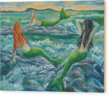 Mermaids On The Rocks Wood Print