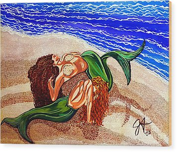 Wood Print featuring the painting Mermaids Spent Jackie Carpenter by Jackie Carpenter