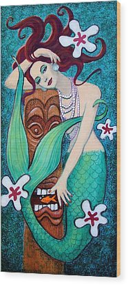 Mermaid's Tiki God Wood Print by Sue Halstenberg