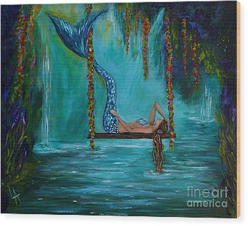 Mermaids Tranquility Wood Print