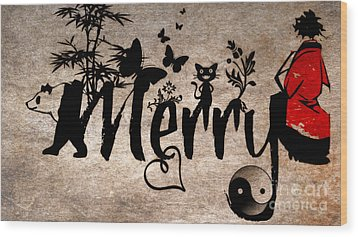 Merry Asian Theme Wood Print by Mindy Bench