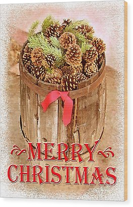 Wood Print featuring the photograph Merry Christmas Barrel by Cristophers Dream Artistry