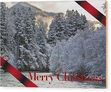 Merry Christmas Card Wood Print by Belinda Greb