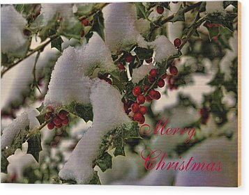 Merry Christmas Card Holly Wood Print