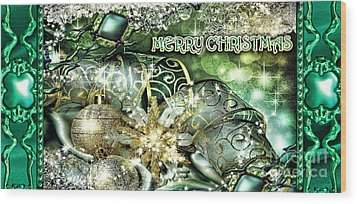 Merry Christmas Green Wood Print by Mo T