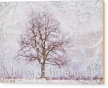 Merry Christmas Wood Print by Jenny Rainbow