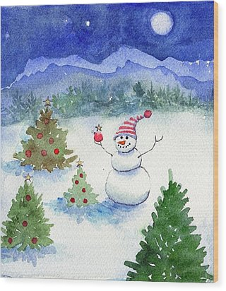 Wood Print featuring the painting Merry Christmas by Katherine Miller