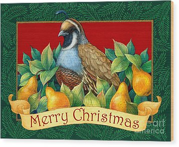 Merry Christmas Partridge Wood Print