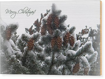 Merry Christmas Pinecones Wood Print by Michelle Frizzell-Thompson